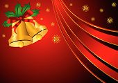 foto of christmas bells  - Christmas bells ornamented with holly and ribbon over red background - JPG