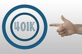 Business Concept. Retirement Planning. Hand Pointing 401k Text In The Circle.. poster
