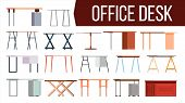 Office Desk Set Vector. Home Table. Office Creative Modern Desk. Interior Table Workplace Design Ele poster