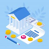 Isometric Concept Of Banking Loan, Money Loans. Loan Document And Agreement With Pen For Signing. poster