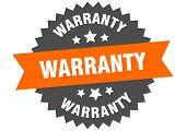 Warranty Sign. Warranty Orange-black Circular Band Label poster