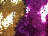Gold And Magenta Sparkle Glitter Background. Christmas Concept. poster