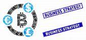 Mosaic International Bitcoin Collaboration Pictogram And Rectangle Seals. Flat Vector International  poster