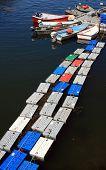 Lobster Crates Floating At Dock