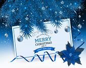 Christmas Background With Fir Branch Border And Lights. Decorative Christmas Festive Background With poster