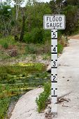 Flood Gauge On Bridge Over Creek