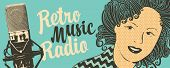 Vector Banner For Radio Station With Studio Microphone, Woman Face And Inscription Retro Music Radio poster