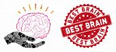 Collage Brain Education Offer And Grunge Stamp Seal With Best Brain Caption. Mosaic Vector Is Compos poster