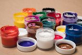 Set Of Paints For Painting.background From Paints.  Acrylic Paints. Tubes With Acrylic Paint. poster