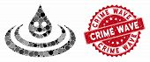 Mosaic Happy Drop Ripple And Rubber Stamp Seal With Crime Wave Text. Mosaic Vector Is Created With H poster