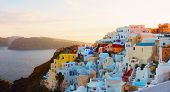 Townscape Of Oia, Volcano Caldera And Aegan Sea, Beautiful Details Of Santorini Island, Greece, Web  poster