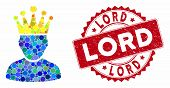 Mosaic King Admin And Corroded Stamp Watermark With Lord Phrase. Mosaic Vector Is Created With King  poster