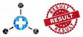 Mosaic Medical Node Links And Rubber Stamp Seal With Result Phrase. Mosaic Vector Is Created With Me poster