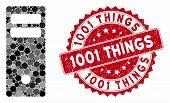 Collage Server Mainframe And Grunge Stamp Seal With 1001 Things Text. Mosaic Vector Is Designed From poster