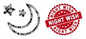 Mosaic Clear Night Sky And Grunge Stamp Watermark With Night Wish Phrase. Mosaic Vector Is Designed  poster