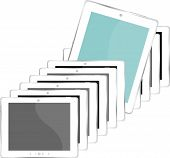 Vector Illustration Of White Tablet Pc ipad Set - Isolated