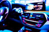 Blurred Image Of Car Interior. Dashboard. Blur Defocused Transportation Background. Driving Inside C poster