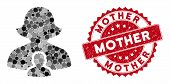 Mosaic Mother And Grunge Stamp Seal With Mother Phrase. Mosaic Vector Is Created From Mother Icon An poster