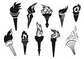 Fire Torch Icons, Sport Game Championship, Football Soccer Tournament Victory And Liberty Symbol. Ve poster
