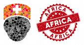 Mosaic Doctor Head And Distressed Stamp Seal With Africa Text. Mosaic Vector Is Designed With Doctor poster