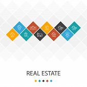 Real Estate Trendy Ui Template Infographics Concept. Property, Realtor, Location, Property For Sale  poster