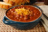 foto of kidney beans  - A bowl of hot chili with melted cheese - JPG