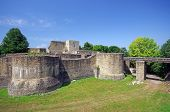 stock photo of suceava  - A romanian legendary fortress Suceava wall ruins - JPG