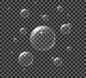 Air Soap Bubbles On Transparent Background. Set 3D Aqua Foam For Bath. Realistic White Soap Ball Of poster