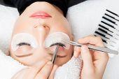 Eyelash Extension Procedure. Master Tweezers Fake Long Lashes Beautiful Female Eyes poster