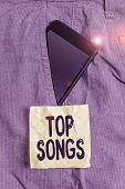 Handwriting Text Writing Top Songs. Concept Meaning Recorded Song That Becomes Broadly Popular Or We poster