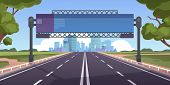 Cartoon Highway. Empty Road With City Skyline On Horizon And Nature Landscape, Highway View. Vector  poster