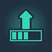 Green Loading Icon Isolated On Blue Background. Upload In Progress. Progress Bar Icon. Abstract Circ poster