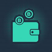 Green Cryptocurrency Wallet Icon Isolated On Blue Background. Wallet And Bitcoin Sign. Mining Concep poster