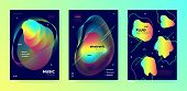 Vivid Music Banner. Minimal Layout. Electronic House Festival. Colorful 3d Fluid Movement. Rainbow M poster