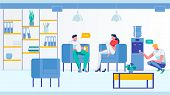 Office People Speaking In Room Flat Cartoon Vector Illustration. Man Pouring Water From Cooler Into  poster