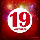 November 19 Icon. For Planning Important Day. Banner For Holidays And Special Days With Fireworks. N poster