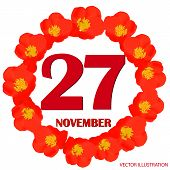 November 27 Icon. For Planning Important Day. Banner For Holidays And Special Days With Flowers. Nov poster