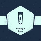 Grunge Line Electrical Hair Clipper Or Shaver Icon Isolated On Blue Background. Barbershop Symbol. M poster