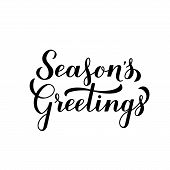 Season S Greetings Calligraphy Hand Lettering Isolated On White. Merry Christmas And Happy New Year  poster