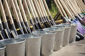 Gardeners Tools. Buckets And Shovels. poster