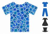 T-shirt Icon Mosaic Of Bumpy Pieces In Various Sizes And Color Tones, Based On T-shirt Icon. Vector  poster