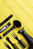Hairdresser Instruments On Wooden Background. Tools For Hairdresser And Copy Space. poster
