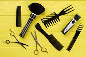 Stylish Professional Hairdresser Tools On Color Background. Hairdresser Workspace With Equipment. St poster