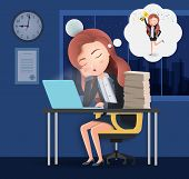 Business Character Overtime Sleeping Vector Concept. Female Lazy Business Character Employee Sleepin poster