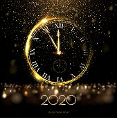 Golden 2020 Number With Big Watch Vector Illustration. Happy New Year Banner Template. Festive Postc poster
