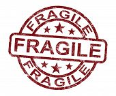 Fragile Stamp Shows Breakable Products For Delivery