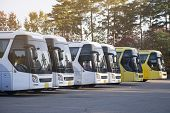 New Bus Fleet Is Parking At The Parking Yard For Service Passengers. poster