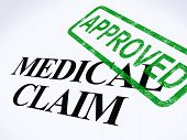 stock photo of reimbursement  - Medical Claim Approved Stamp Showing Successful Medical Reimbursement - JPG