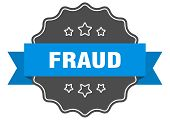 Fraud Blue Label. Fraud Isolated Seal. Fraud poster