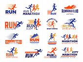 Sport Logo. Healthy Running Marathon Athletes Sprinting Badges Vector Collection Isolated. Illustrat poster